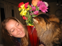 Jess trying to steal Patty's flowers